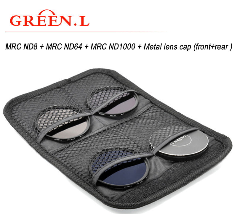 GreenL UV Filter Kit | MRC ND8 + MRC ND64 + MRC ND1000 + Metal lens cap (front+rear )