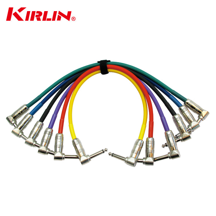 KIRLIN IP6-243PN 1FT Right Angle 1/4-Inch Plugs Colored Guitar Patch Cable