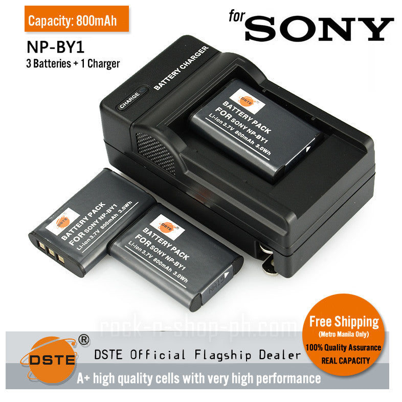 DSTE NP-BY1 800mAh Battery and Charger for Sony HDR-AZ1/AZ1VR/AZ1VB
