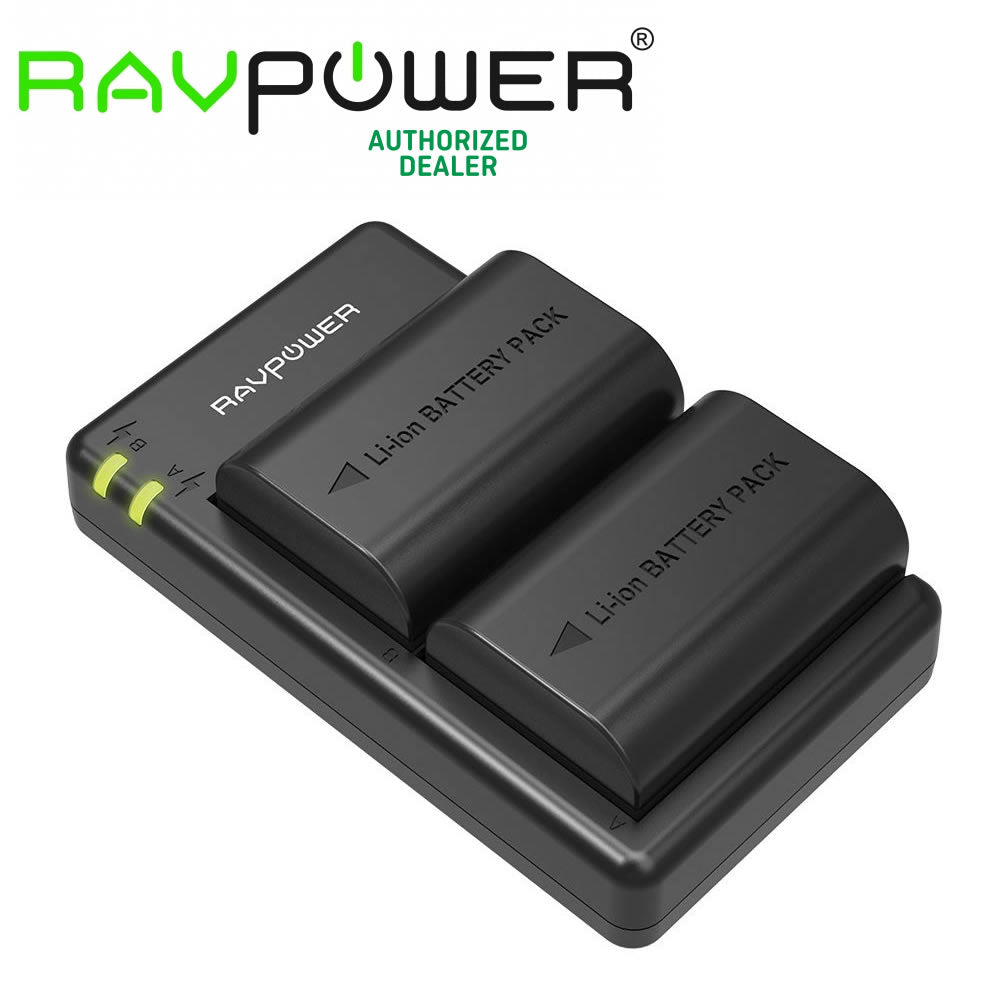 RAVPower LP-E6 2x Battery and USB Dual Charger Set for Canon