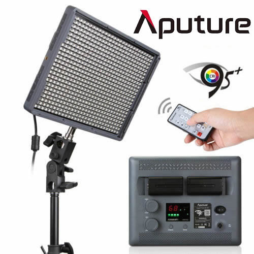 Aputure Amaran HR672C Portable LED Panel Video Light 3200-5500K + 2.4G Wireless Remonte Control + 2x 6600mAh NP-F970 Batteries & Bag
