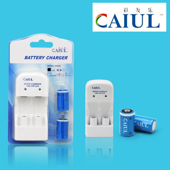 Caiul CR2-3V Rechargeable Li-Ion Battery & Charger Set