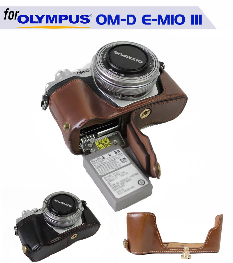 Leather Half Case for Olympus OM-D E-M10 III
