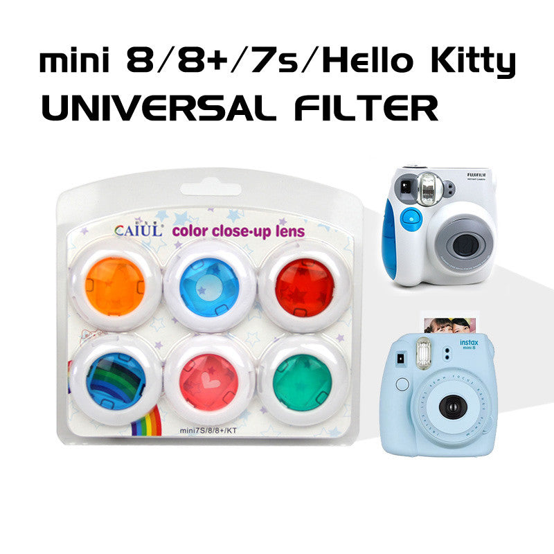 Caiul 6pcs Color Filter Close-Up Lens for Fujifilm Instax Mini 8 /7S /Hello Kitty