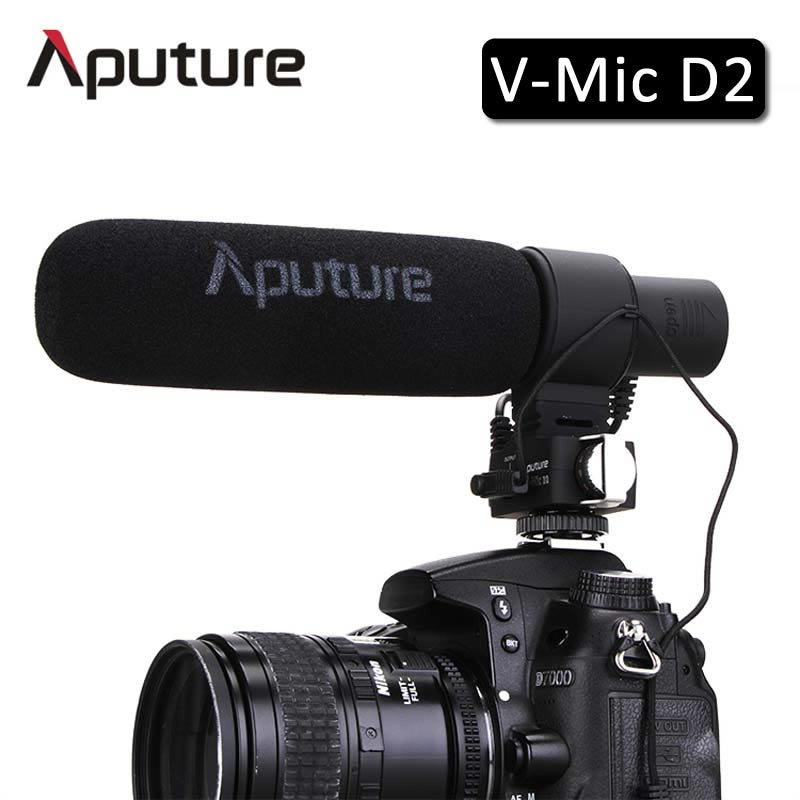 Aputure V-Mic D2 Sensitivity Adjustable Directional Condenser Shotgun Microphone for Nikon Canon Pentax Camera Camcorder DSLR