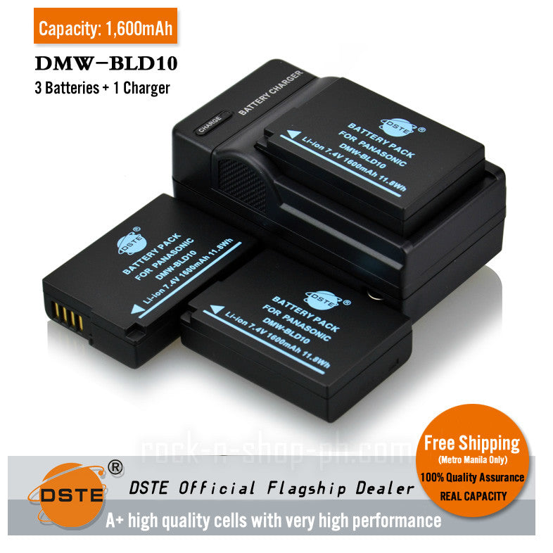 DSTE DMW-BLD10 BLD10E 1,600mAh Battery and Charger for Panasonic GX1 GF2 G3