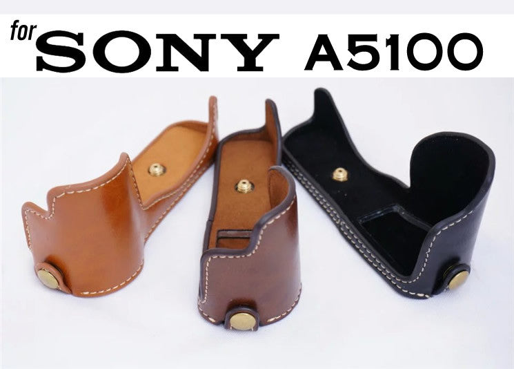 Leather Half Case for for Sony A5000 A5100 (version 1)