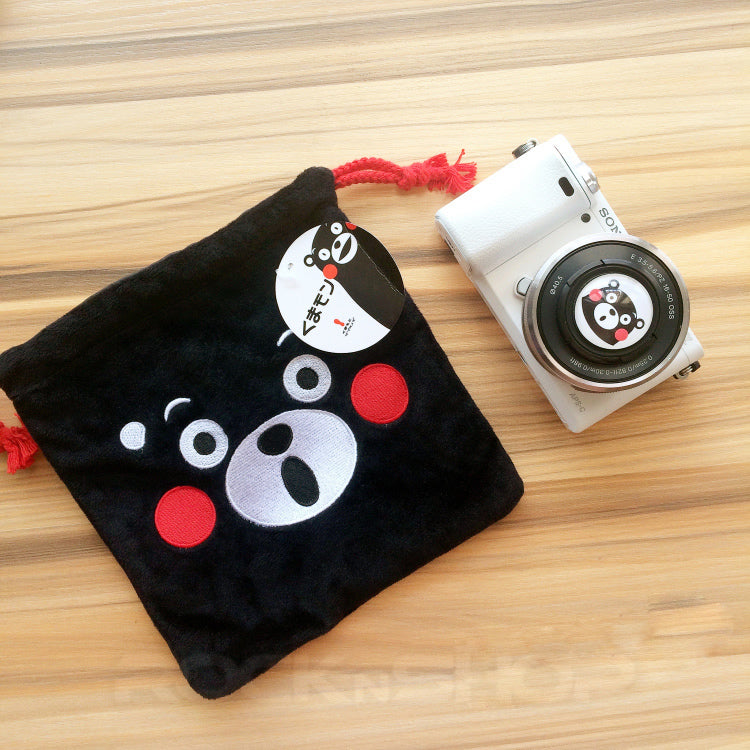 Cartoon Black Bear Embroidery Pouch for Camera DSLR Instax