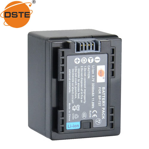 DSTE BP-727 3,200mAh Battery and Charger for Canon R506 BP-709 HF R300