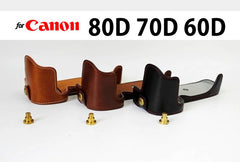 Leather Half Case for Canon 80D 70D 60D