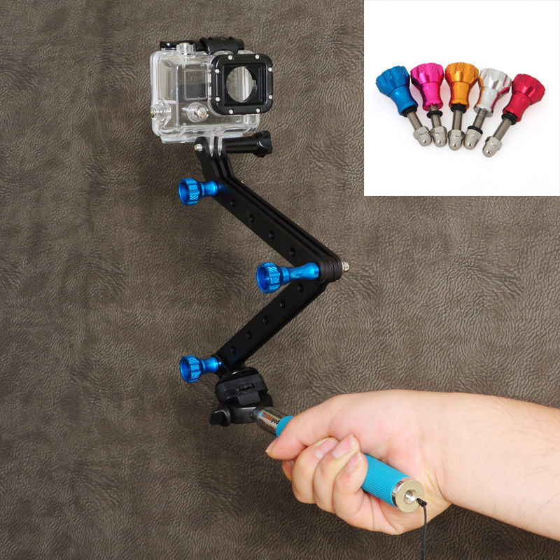 Blue Aluminum Alloy Self Extension Arm Mount Tripod Kits With Screw For Gopro Hero3/ hero3+
