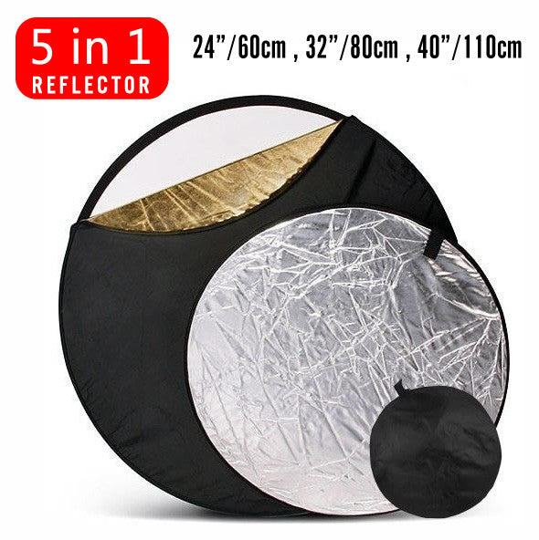 "24"" / 32"" / 40"" Studio Lighting 5-in-1 diffuser Light Multi Collapsible disc Reflector"
