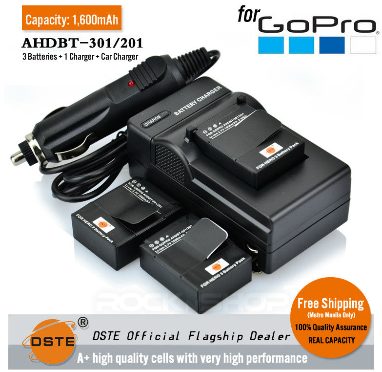 DSTE AHDBT-201/301 1600mAh Battery and Charger for GoPro HERO3