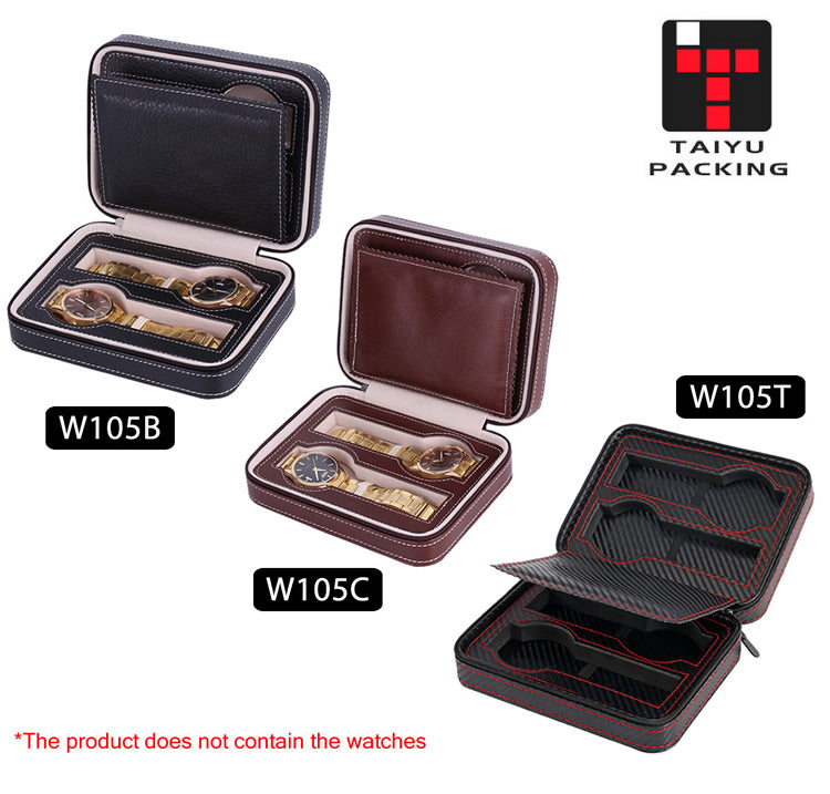 Double Layer 4 Slots Leather Watch Box