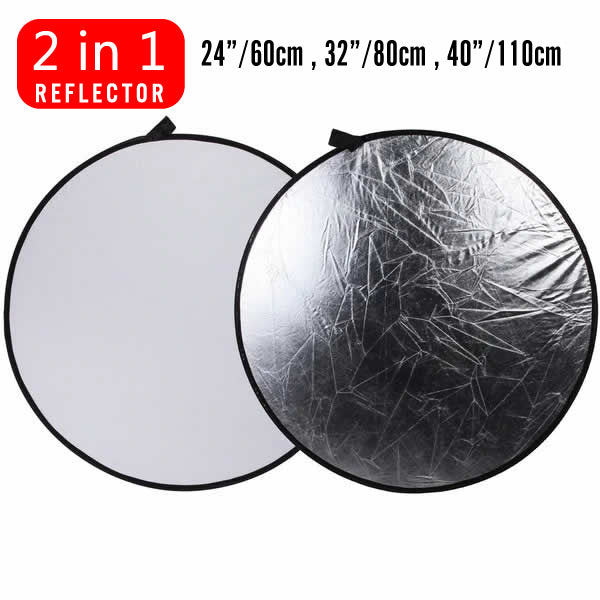 White/Silver Studio Lighting 2-in-1 diffuser Light Multi Collapsible Disc Reflector