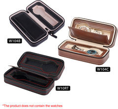 Double Layer 2 Slots Leather Watch Box