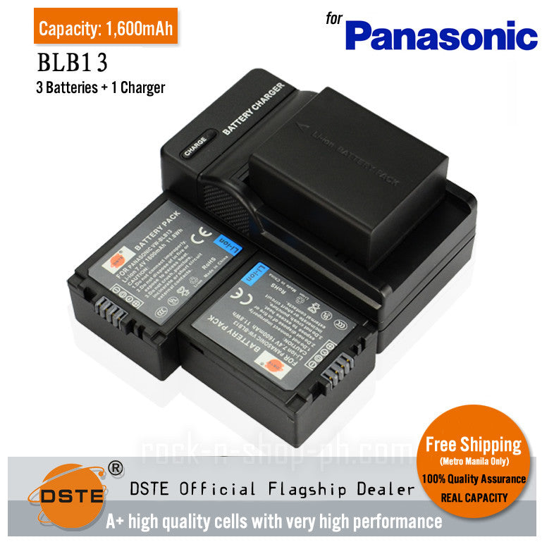 DSTE DMW-BLB13 1,600mAh Battery and Charger for Panasonic G1 GH1 GF1 G10 G2