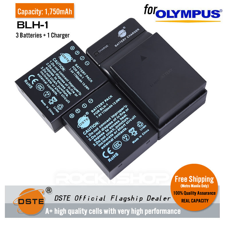 DSTE BLH-1 1750mAh Battery and Charger for Olympus EM1 MARK II