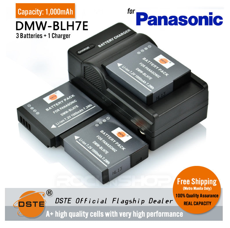 DSTE DMW-BLH7E 1000mAh Battery and Charger for Panasonic DMC-GM1 GM5 GF7 GM1K