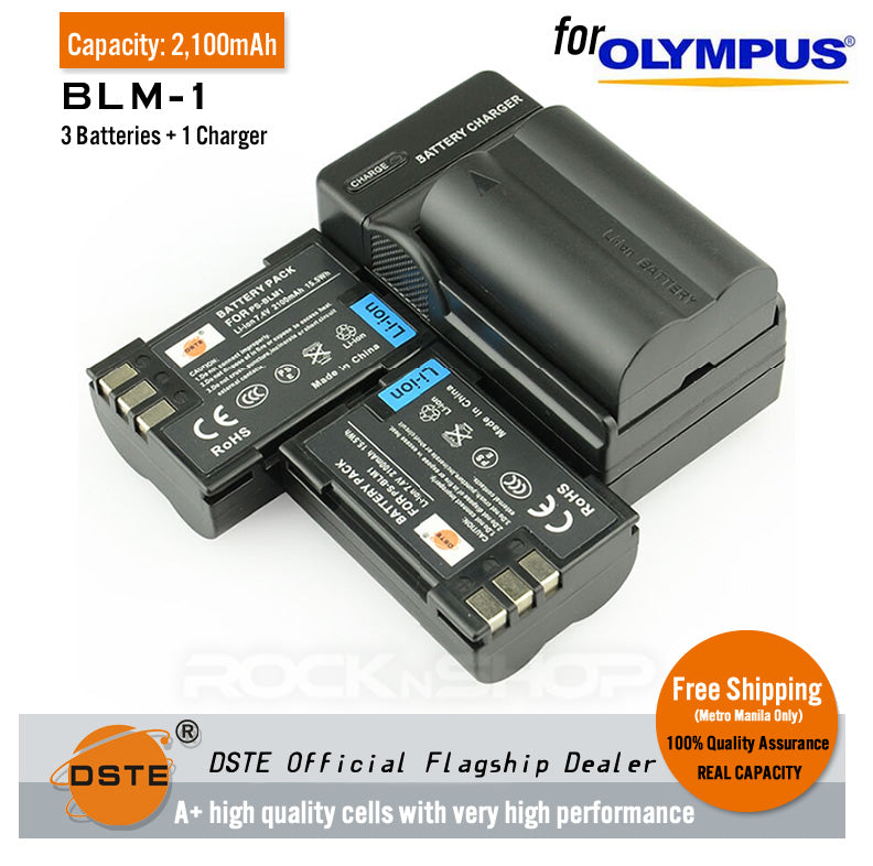 DSTE BLM-1 2100mAh Battery and Charger for Olympus C7070 E330 E510