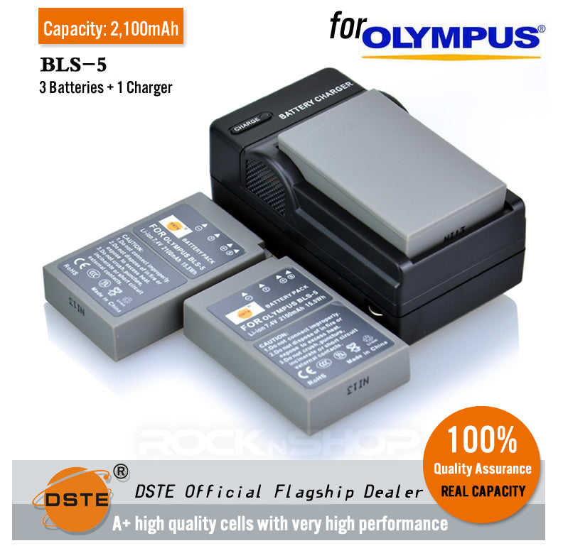 DSTE BLS-5 2100mAh Battery and Charger For Olympus E-M10 EPL1S