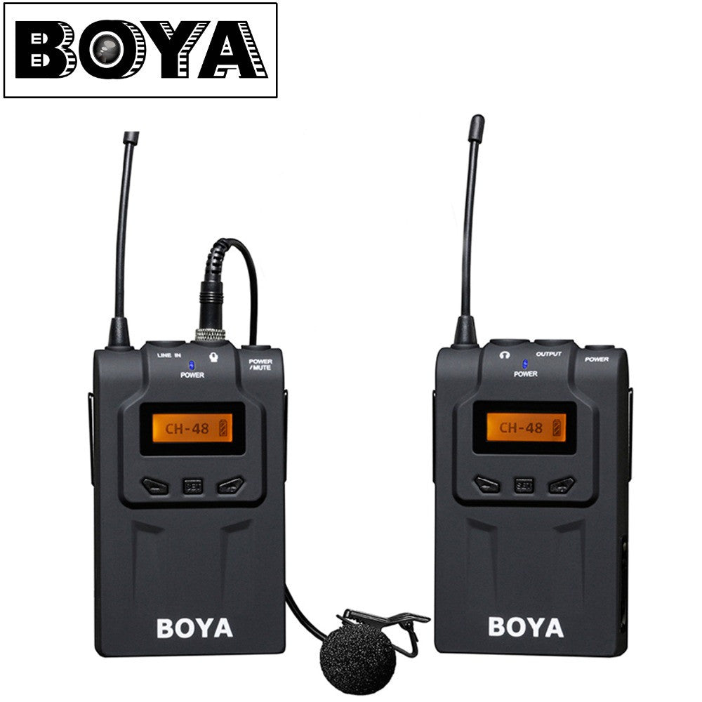 BOYA BY-WM6 UHF Ultra High Frequency 48 Channel Camera Wireless Lavalier Microphone System for Canon DSLR Sony Camcorders