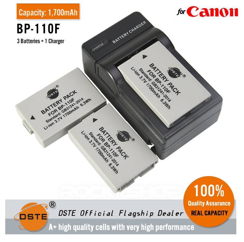 DSTE BP-110F 1700mAh Battery and Charger for Canon VIXIA HF R206 R200 R28 R26 R21