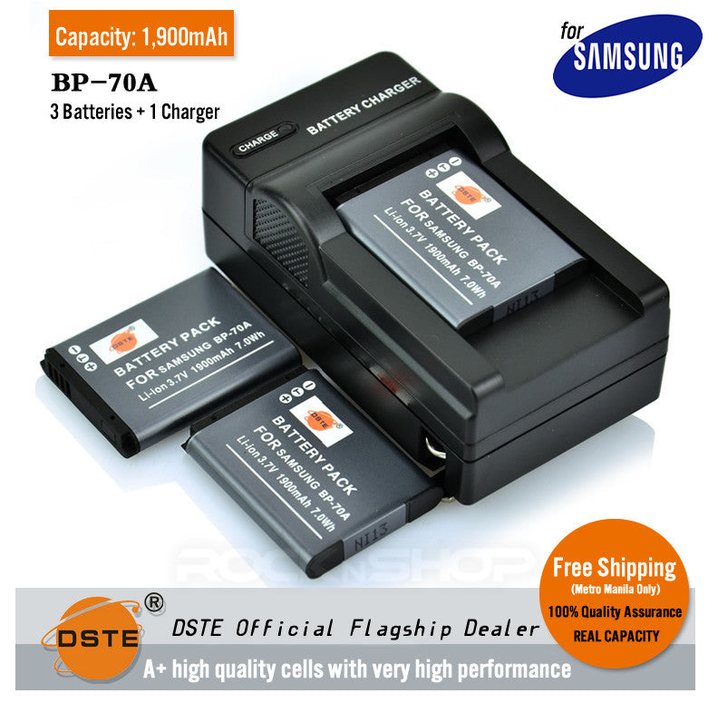 DSTE BP-70A 1900mAh Battery and Charger For Samsung ES65 ST88 PL170