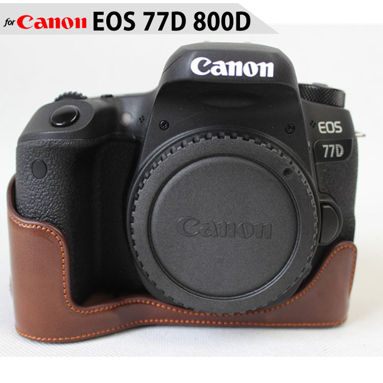 Leather Half Case for Canon EOS 77D 800D