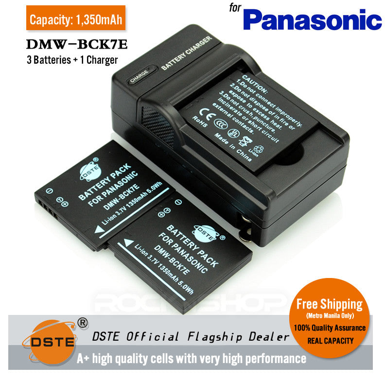 DSTE DMW-BCK7E 1350mAh Battery and Charger for Panasonic S1 FX77