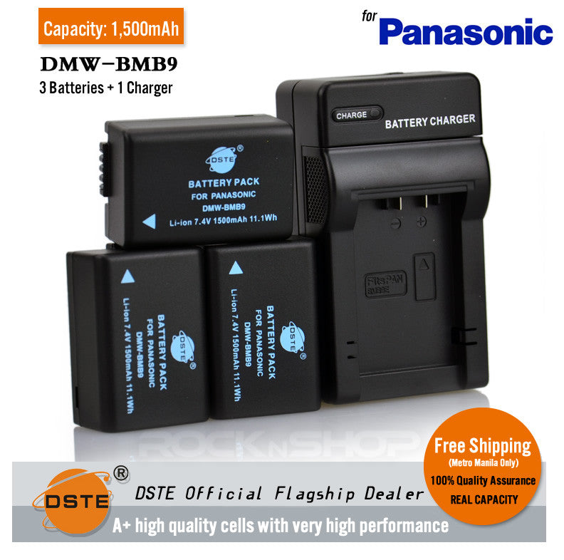 DSTE DMW-BMB9 1500mAh Battery and Charger for Leica DC9 FZ100 FZ48