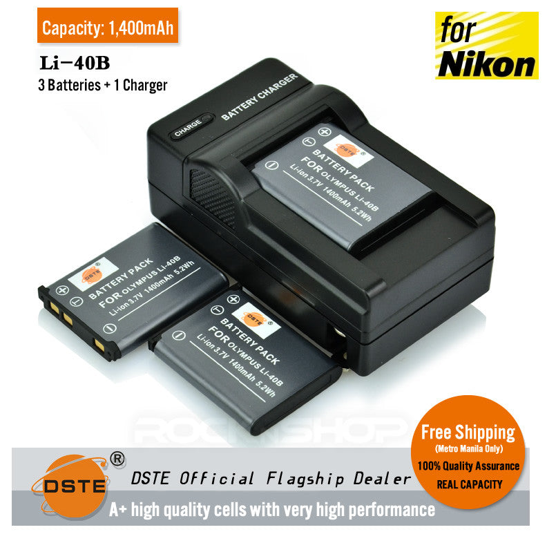 DSTE EN-EL10 Li-40B 1400mAh Battery and Charger for Nikon S80 S220 S230 S3000