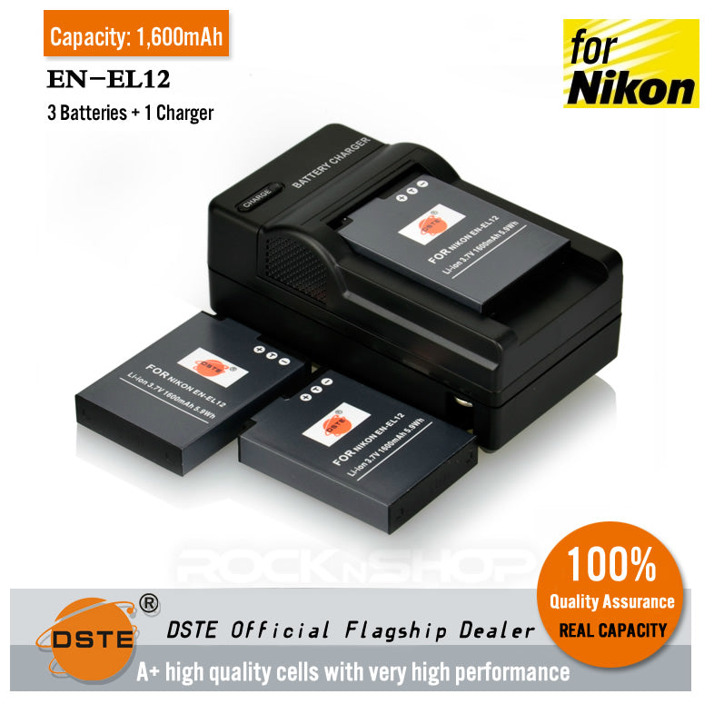 DSTE EN-EL12 1,600mAh Battery and Charger for Nikon S6200 P300 AW120s P340 S9600
