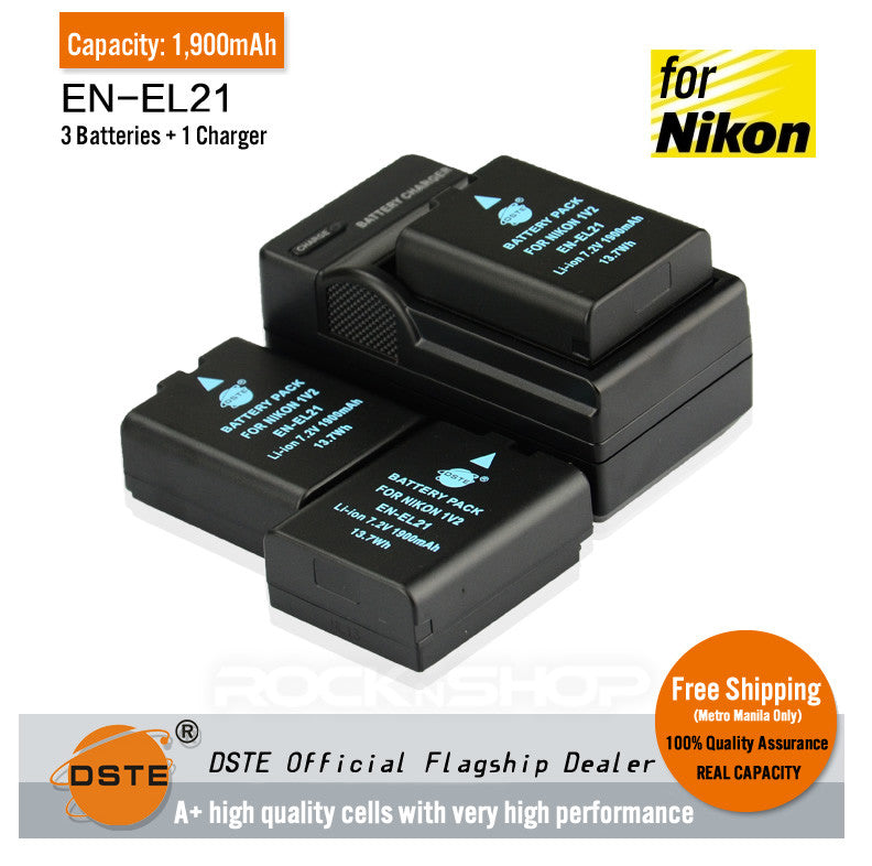 DSTE EN-EL21 1,900mAh Battery and Charger For Nikon V12