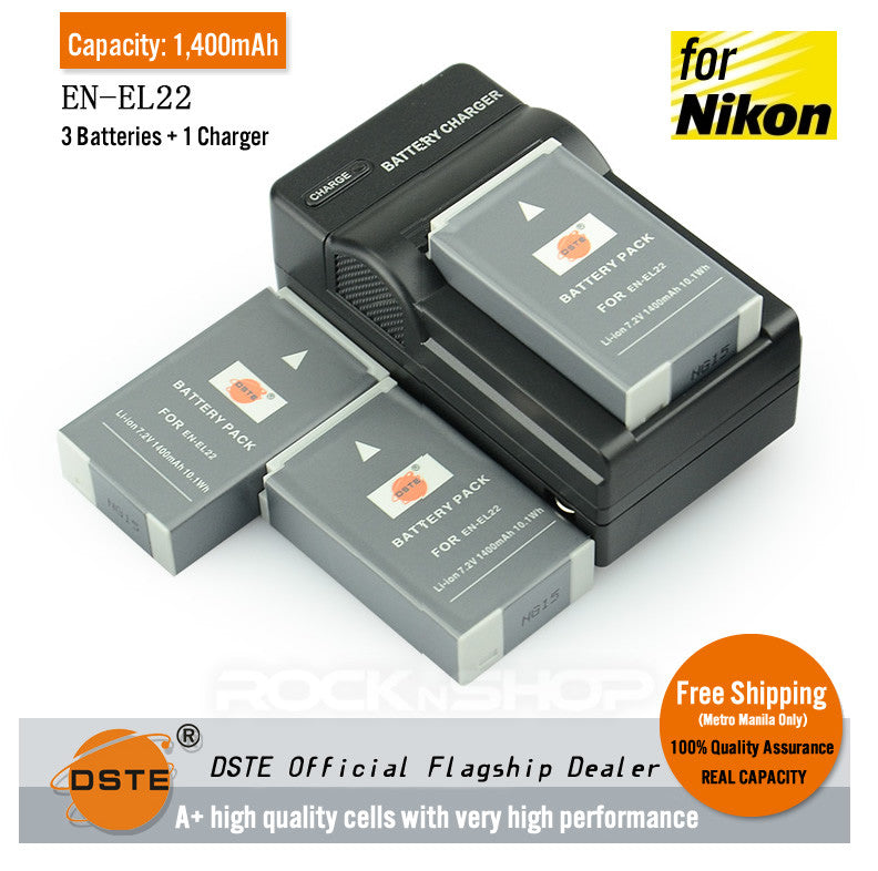 DSTE EN-EL22 1,400mAh Battery and Charger For Nikon 1 J4 S2