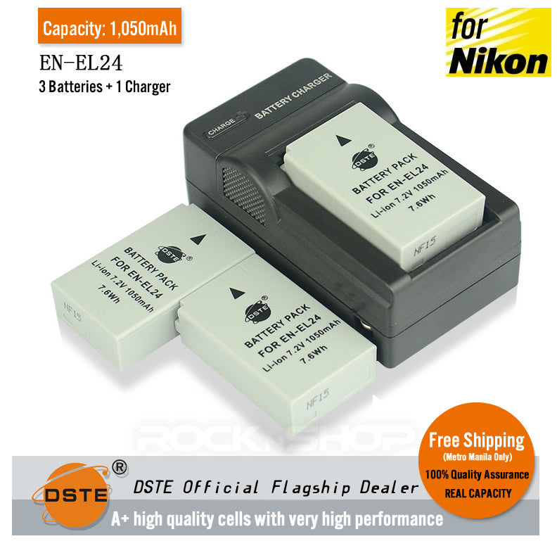 DSTE EN-EL24 1,050mAh Battery and Charger For Nikon 1 J5