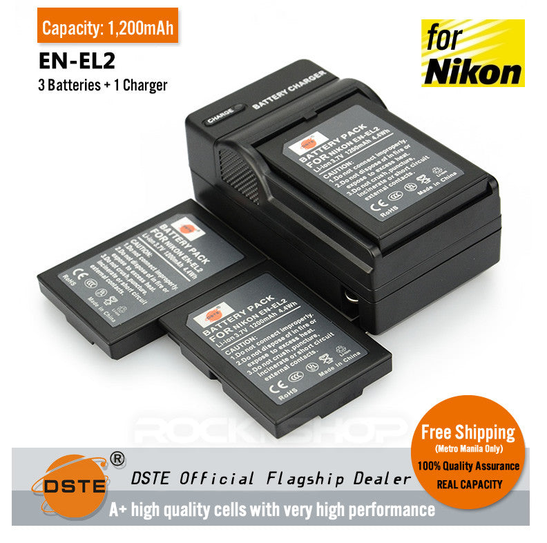 DSTE EN-EL2 1,200mAh Battery and Charger For Nikon COOLPIX 2500 3500