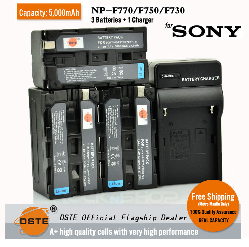 DSTE NP-F750 F770 5000mAh Battery and Charger for Sony 92 94E 95E