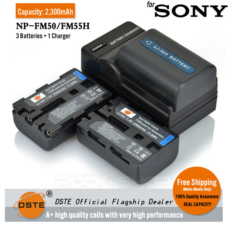 DSTE NP-FM50 FM55H 2300mAh Battery and Charger for Sony F717 F828