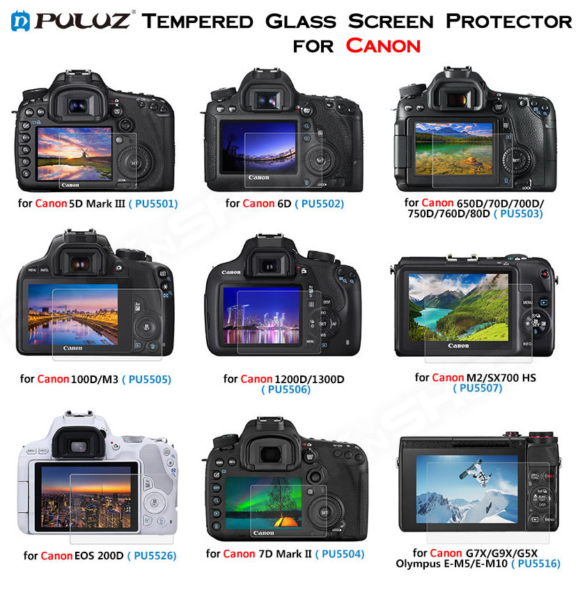 PULUZ Tempered Glass Screen Protector for Canon