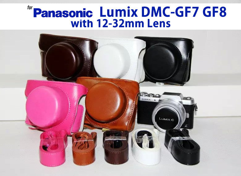 Leather Case Holster for Panasonic Lumix DMC-GF7 GF8 with 12-32mm