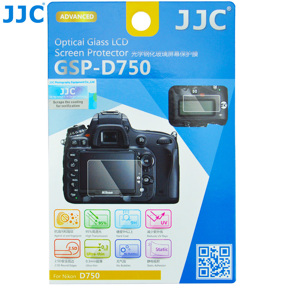 JJC Ultra-thin Glass LCD Screen Protector for Nikon D750