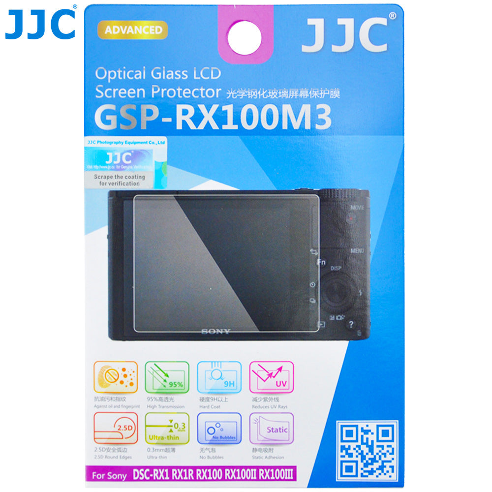 JJC Ultra-thin Glass LCD Screen Protector for Sony DSC-RX1, RX1R, RX1R II, RX100, RX100II, RX100III, RX100IV, RX100V