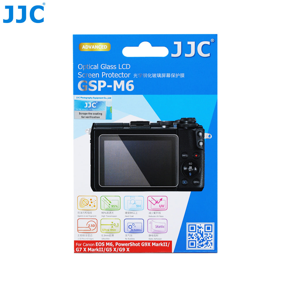 JJC Ultra-thin Tempered Glass LCD Screen Protector for CANON EOS M6, EOS M100, G7X MarkII