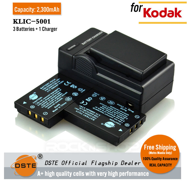 DSTE KLIC-5001 2300mAh Battery and Charger for Kodak DX7590 Z730