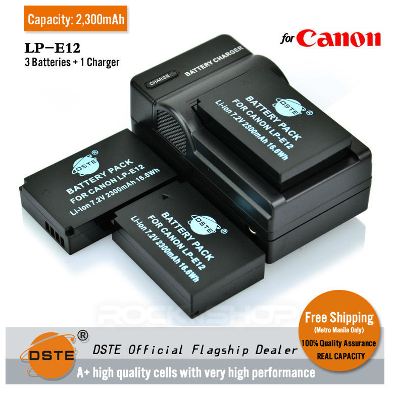 DSTE LP-E12 2,300mAh Battery and Charger for Canon EOS M 100D