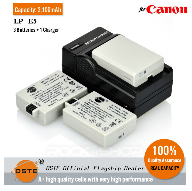 DSTE LP-E5 2100mAh Battery and Charger For Canon EOS 450D, EOS 500D, EOS 1000D