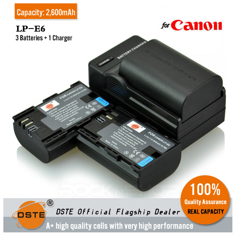 DSTE LP-E6 2600mAh Battery or Charger for Canon 5D2 5D3 7D 60D