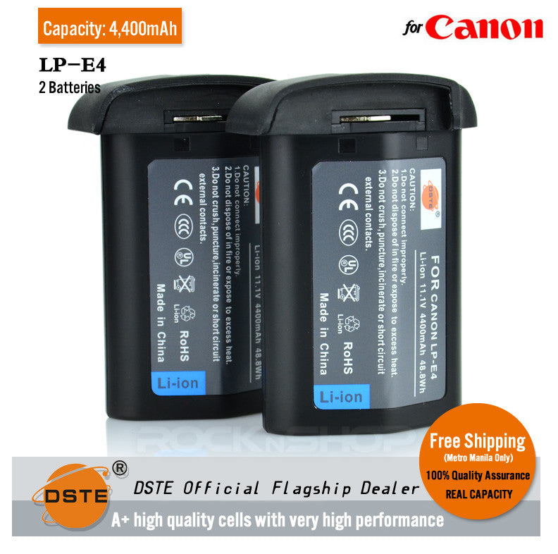 DSTE LP-E4 4400mAh Battery and Charger For Canon EOS-1D Mark III 1Ds Mark III 1D mark4