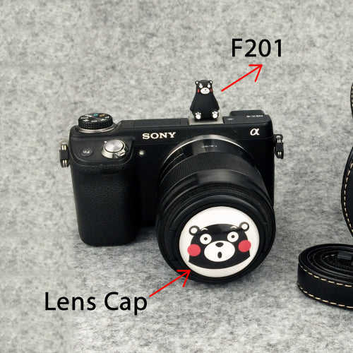 Cartoon Black Bear Lens Cap/ Hotshoe/ Anti-lost Lens String